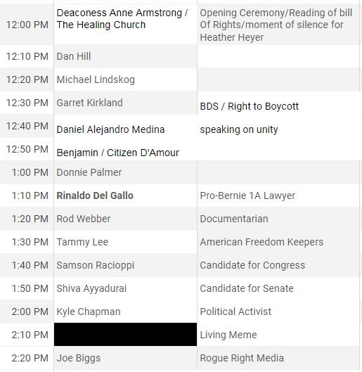 List of Boston Free Speech rally scheduled speakers for August 19, 2017