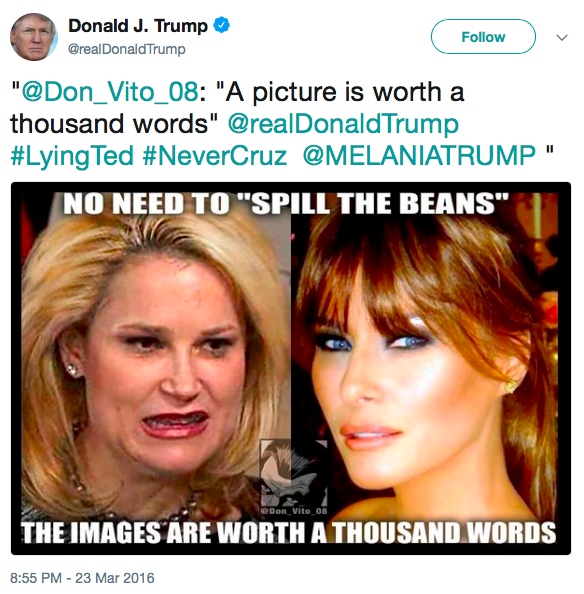 Insulting Tweet from Trump showing ugly photo of Ted Cruz's wife and flattering photo of Trump's wife